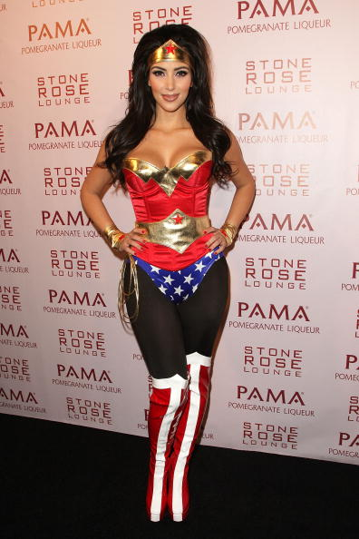 Kim Kardashian attends her and PAMA's Halloween Masquerade at the Stone Rose on October 30, 2008 in Los Angeles, California.