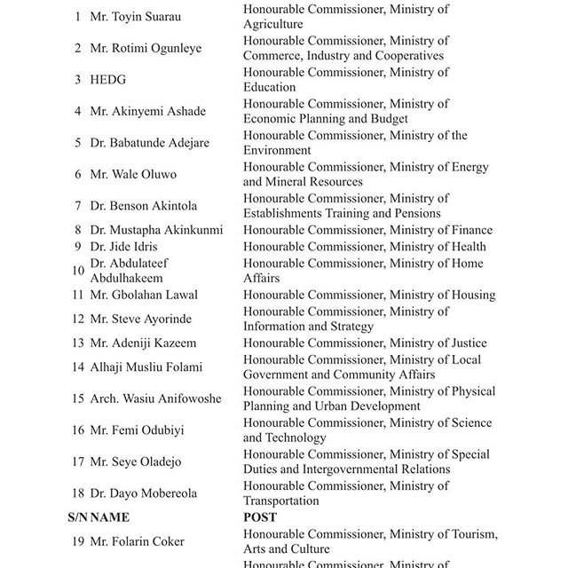 Lagos State List 1