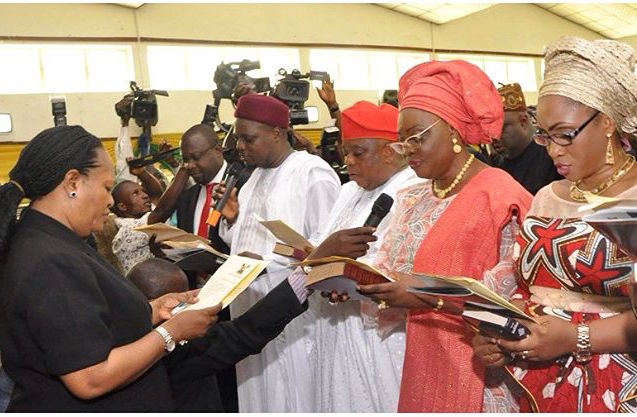 Cross Section of the newly appointed Commissioners and Special Advisers taking oaths of Office, being conducted by the Director, Legislative Drafting, Ministry of Justice, Mrs. Tola Akinsanya, before Governor Akinwunmi Ambode, during their Swearing-in ceremony at the Adeyemi Bero Auditorium, the Secretariat, Alausa, Ikeja, on Monday, October19, 2015.