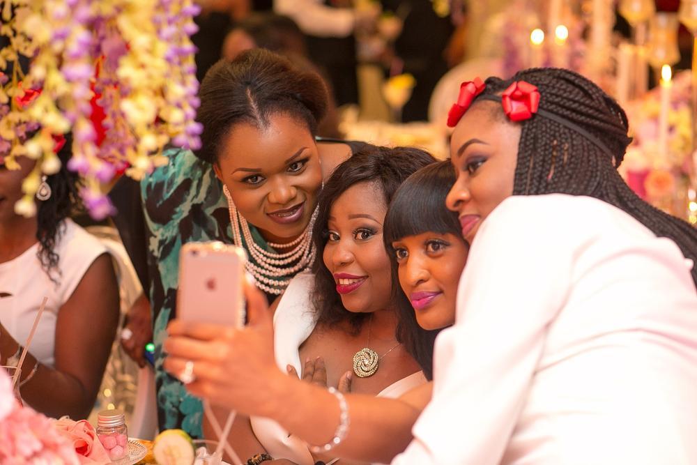 Let's take a selfie! BBNWonderland brides & Banke Meshida-Lawal, Brand Ambassador Baileys Nigeria