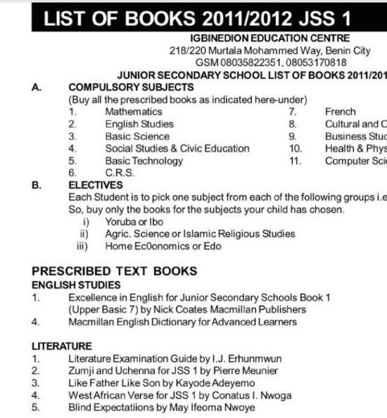 List of Books JSS 2