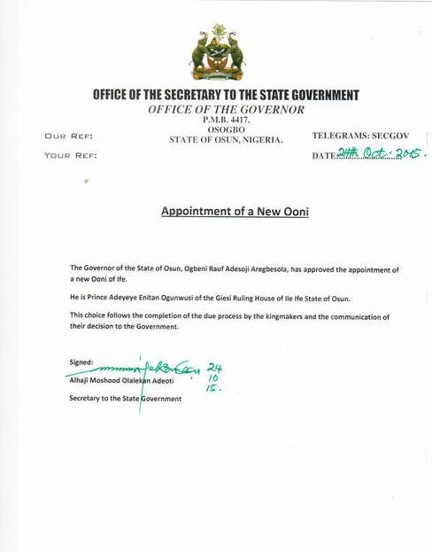 New Ooni of Ife Official Letter