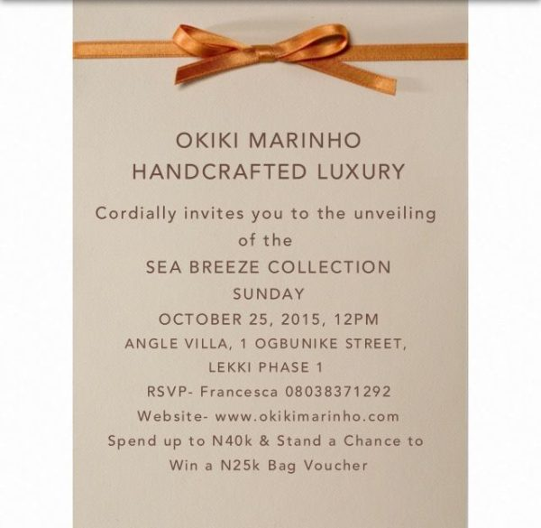 Okiki Marinho Sea Breeze Collection Invite