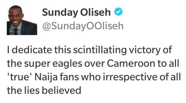 Oliseh Tweet