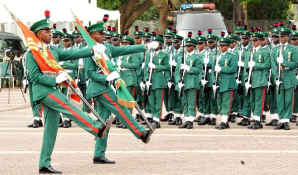 PIC. 5. SOLDIERS MATCHING DURING THE PRESIDENTIAL CHANGE OF GUARDS TO MARK NIGERIA'S 55TH INDEPENDENCE DAY CELEBRATION IN ABUJA ON THURSDAY (1/10/15). 6897/1/10/2015/ISE/ BJO/NAN