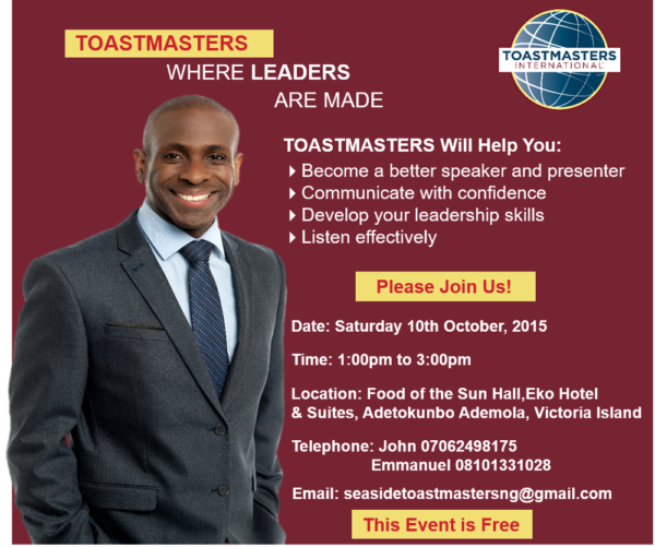 Seaside Toastmasters 10th October 2015 Meeting