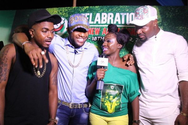 Skiibii, Kcee and Harry Songz on the 7UP green carpet