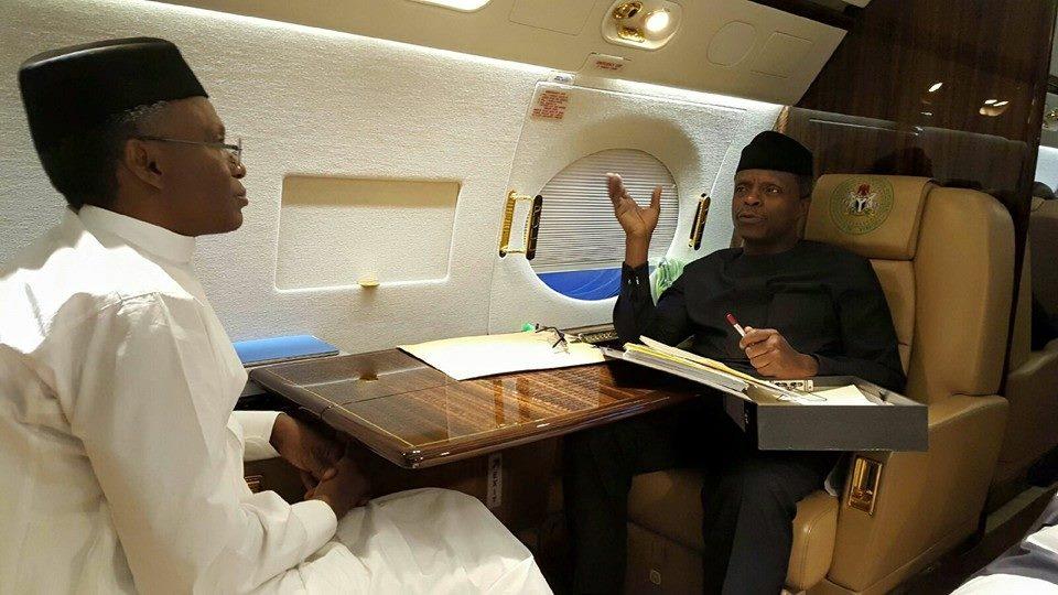VP Osinbajo & Governor El-Rufai in-flight to London last week