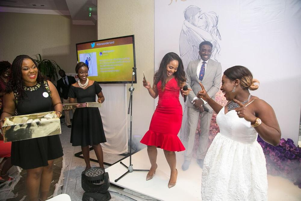 #BBNWonderland bride, Blessing dancing with glee at her Wedding Dress prize from Blush by MyQ