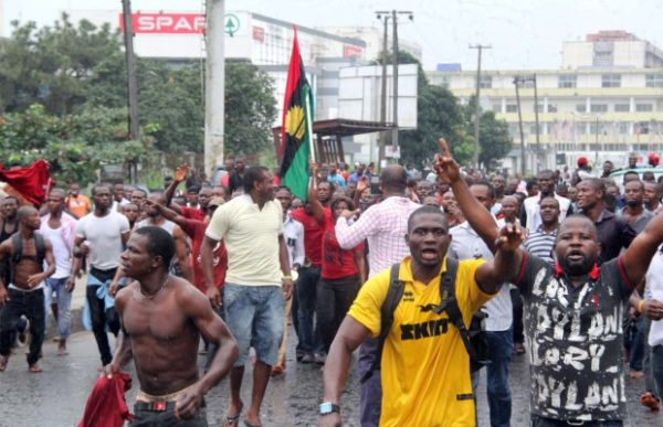 The Indigenous People of Biafra on a Peaceful Protest over the Arrest of the Director of Radio Biafra yesterday along Ikwerre road in Port Harcourt, Rivers State.