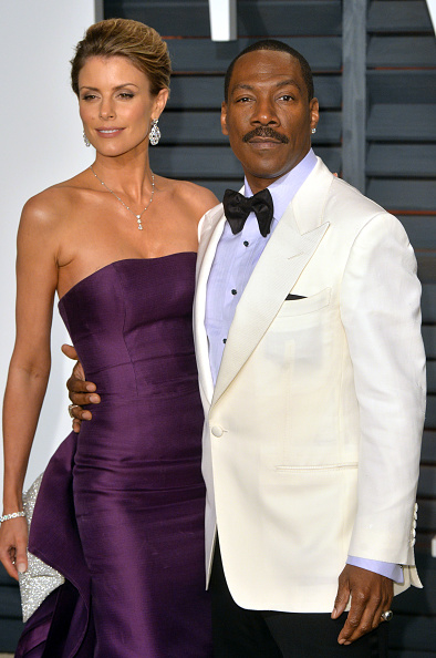 BEVERLY HILLS, CA - FEBRUARY 22:  Eddie Murphy and Paige Butcher arrive at the 2015 Vanity Fair Oscar Party Hosted By Graydon Carter at Wallis Annenberg Center for the Performing Arts on February 22, 2015 in Beverly Hills, California.  (Photo by Anthony Harvey/Getty Images)