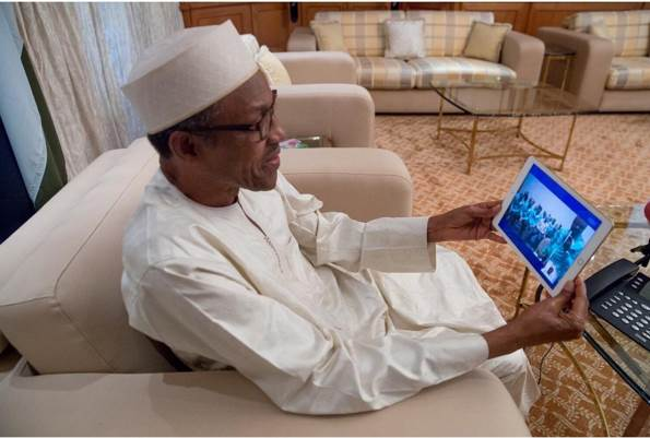 Buhari Video Chats with Golden Eaglets