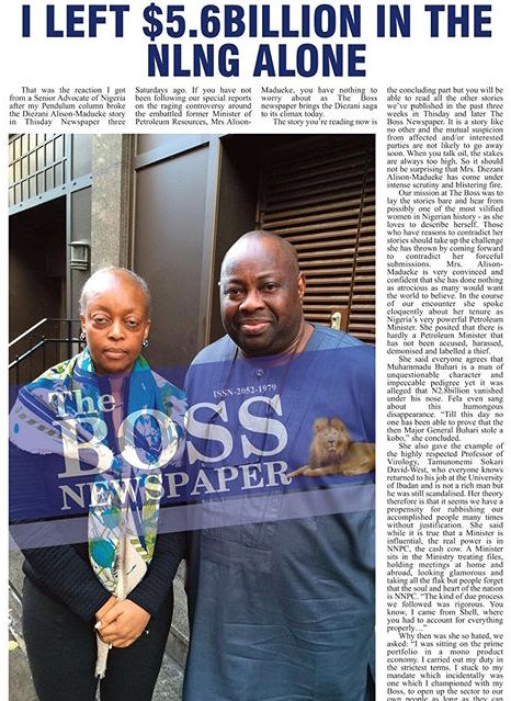 Diezani Alison-Madueke with Dele Momodu on Boss Newspaper 2