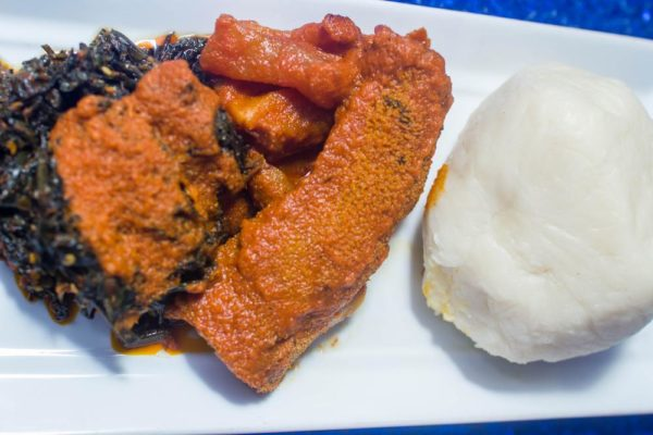 Efo Riro, Stewed Kpomo, Shaki and Beef and Pounded Yam