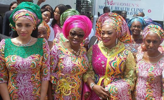 Iara Oshiomhole, Bolanle Ambode & Dolapo Osinbajo with Pastor Siji Iluyomade