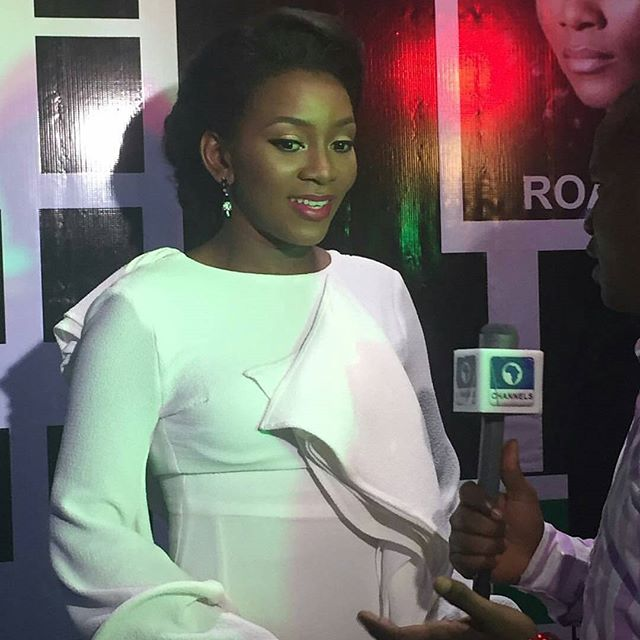 Genevieve speaking to media at the Premiere