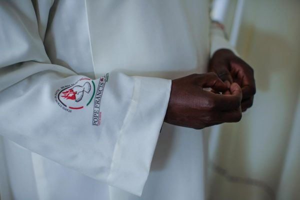 NAIROBI, KENYA - NOVEMBER 24: A detail of a vestment made for a priest ahead of Pope Francis' visit on November 24, 2015 in Nairobi, Kenya. Pope Francis makes his first visit to Kenya on a five day African tour that is scheduled to include Uganda and the Central African Republic. Africa is recognised as being crucial to the future of the Catholic Church with the continent's Catholic numbers growing faster than anywhere else in the world. (Photo by Nichole Sobecki/Getty Images)
