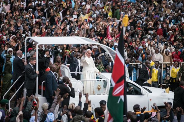 NAIROBI, KENYA - NOVEMBER 26: Pope Francis arrives at the University of Nairobi for a public mass in downtown Nairobi on November 26, 2015, in Nairobi, Kenya. Pope Francis makes his first visit to Kenya on a five day African tour that is scheduled to include Uganda and the Central African Republic. Africa is recognised as being crucial to the future of the Catholic Church with the continent's Catholic numbers growing faster than anywhere else in the world. (Photo by Nichole Sobecki/Getty Images)