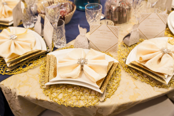Gold Cream and Blue Tablescape