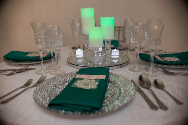 Green Sliver Crystal Candles Tablescape