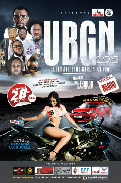 Motorsports meets Showbiz at the 2015 Nigeria's Superbike Road Race – The Bikers Trophy in Benin City + Ultimate Bike Girl Nigeria 2015 | Saturday, November 28th
