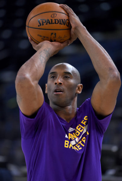 OAKLAND, CA - NOVEMBER 24: Kobe Bryant #24 of the Los Angeles Lakers warms up prior to playing the Golden State Warriors in an NBA basketball game at ORACLE Arena on November 24, 2015 in Oakland, California. NOTE TO USER: User expressly acknowledges and agrees that, by downloading and or using this photograph, User is consenting to the terms and conditions of the Getty Images License Agreement. (Photo by Thearon W. Henderson/Getty Images)