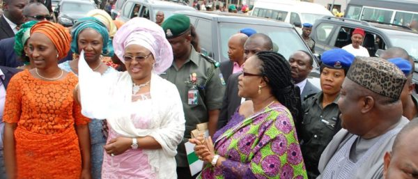 PIC. 16. FROM LEFT: WIFE OF THE VICE PRESIDENT, MRS DOLAPO OSINBAJO; WIFE OF THE PRESIDENT, MRS AISHA BUHARI; WIFE OF THE GOVERNOR OF ENUGU STATE, MRS MONICA UGWUANYI, AND GOV. IFEANYI UGWUANYI, DURING THE VISIT OF MRS BUHARI TO ENUGU FOR HEALTH SCREENING PROGRAMME ON THURSDAY (5/11/15). 7021/5/11/2015/MAG/BJO/NAN