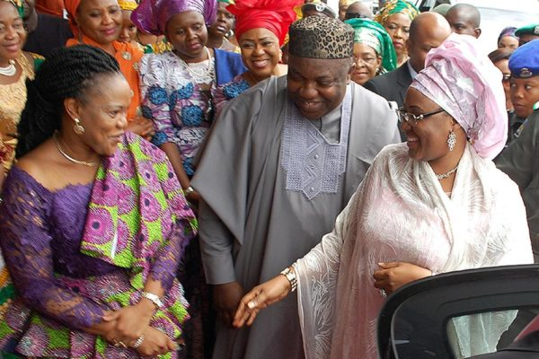 PIC. 17. FROM LEFT: WIFE OF THE GOVERNOR OF ENUGU STATE, MRS MONICA UGWUANYI AND GOV. IFEANYI UGWUANYI, WELCOMING THE WIFE OF THE PRESIDENT, MRS AISHA BUHARI, DURING HER VISIT TO ENUGU FOR HEALTH SCREENING PROGRAMME ON THURSDAY (5/11/15). 7022/5/11/2015/MAG/BJO/NAN