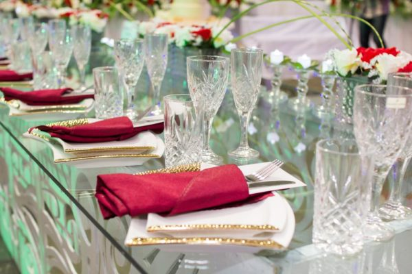Red and Crystal Tablescape