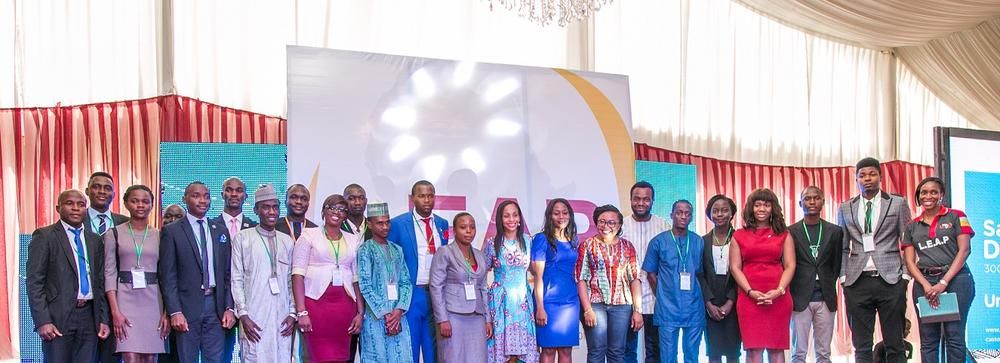SIP 2015 inductees at the awards with Bosun Tijani, CEO CcHub, Ndidi Nwuneli, Iyadunni Olubode of LEAP Africa