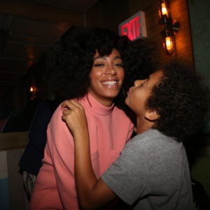 NEW YORK, NY - MAY 04:  (L-R) Solange and her son Daniel Julez Smith, Jr attend the Solang And 14+ Foundation Partnership Party at Baby's All Right on May 4, 2014 in the Brooklyn borough of New York City.  (Photo by Johnny Nunez/WireImage)