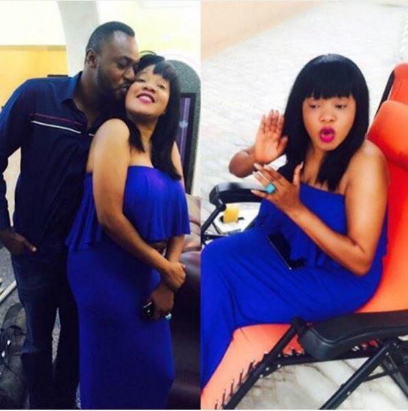 Toyin Aimakhu on set with Odunlade Adekola