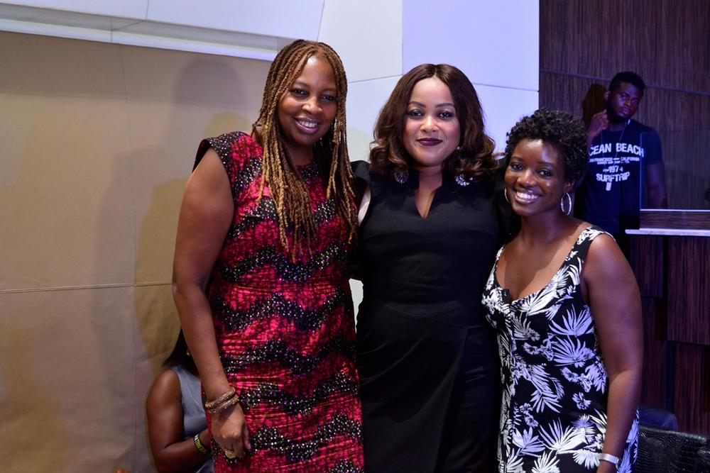 12 Ladies take a pose musicians Diwari and Tonye with Ngozi Omambala (MD LoudNProudLive)