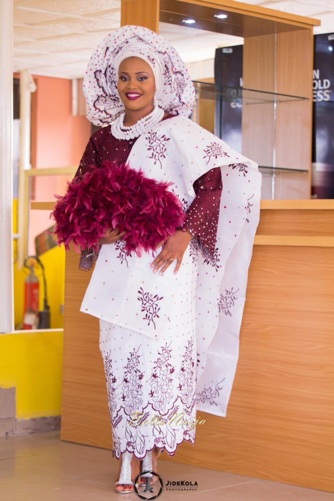 #BBNWonderland bride Victory wears Aso Oke and holds a feathered fan, as she becomes a Yoruba Wife | Photo by Jidekola Photography