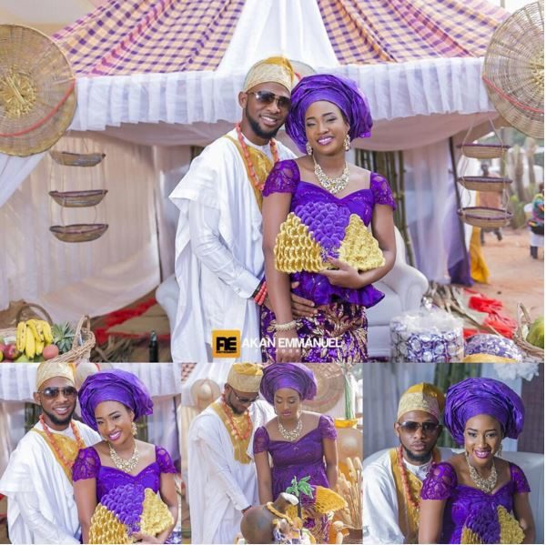 Flavour's manager, Benjamin Omesiete & Wife Ify at their Traditional Wedding