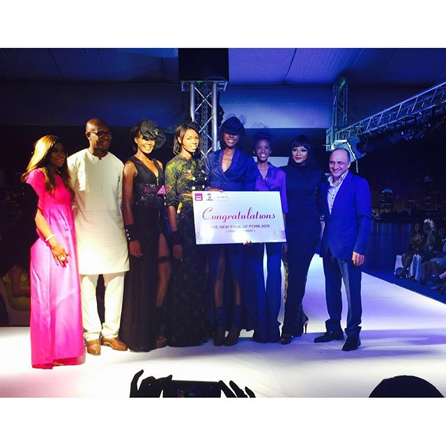 Omotola with the winner and reps