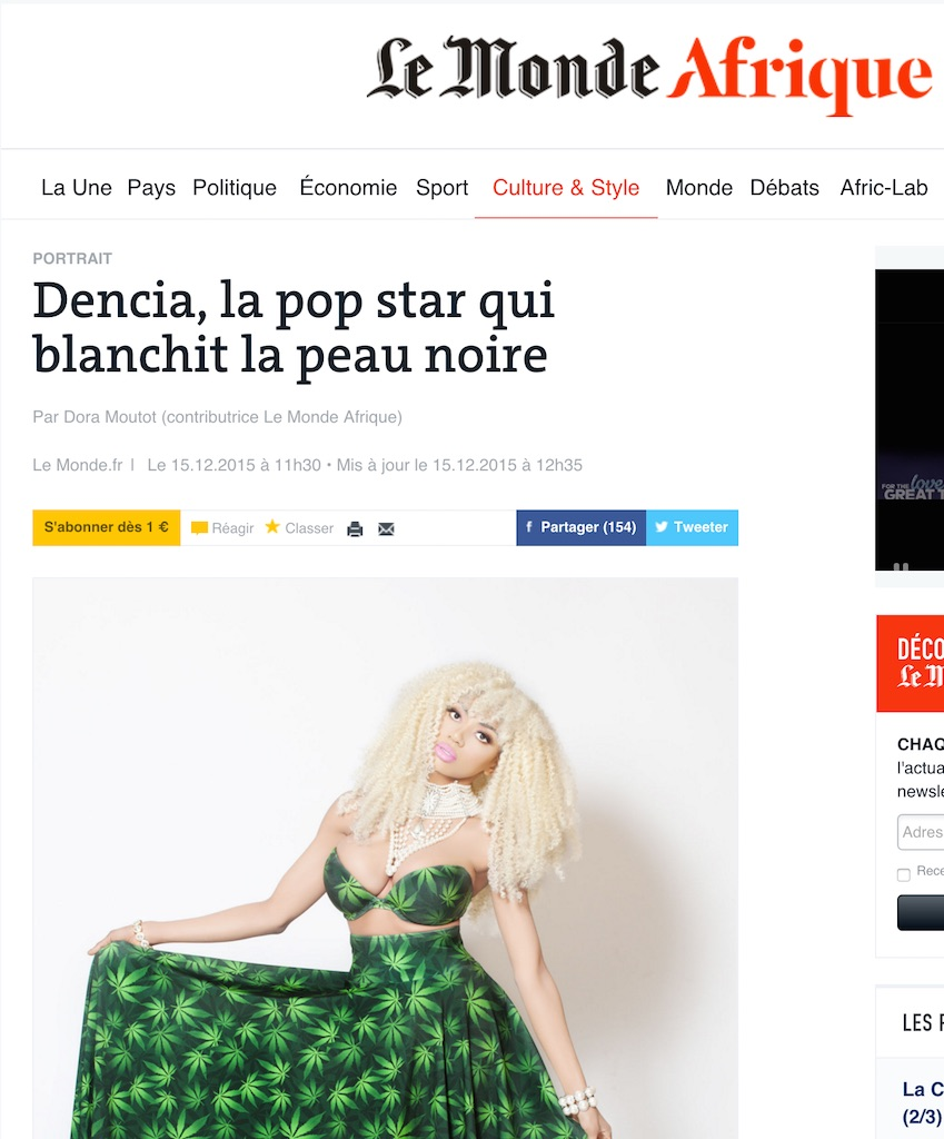 Dencia la pop star qui blanchit la peau noire copy