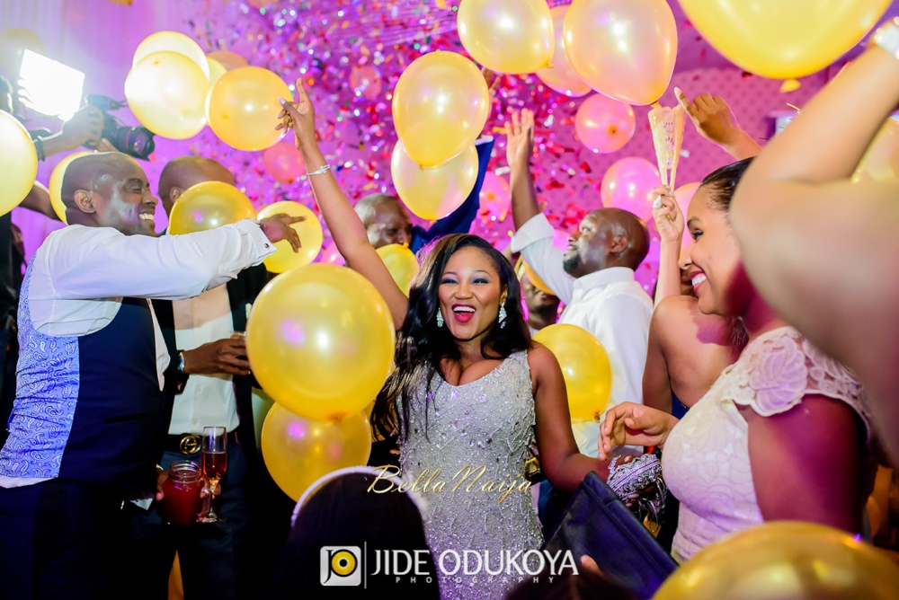 All hands up for the balloon drop at Folake and Danny's wedding. | Photo by Jide Odukoya Photography