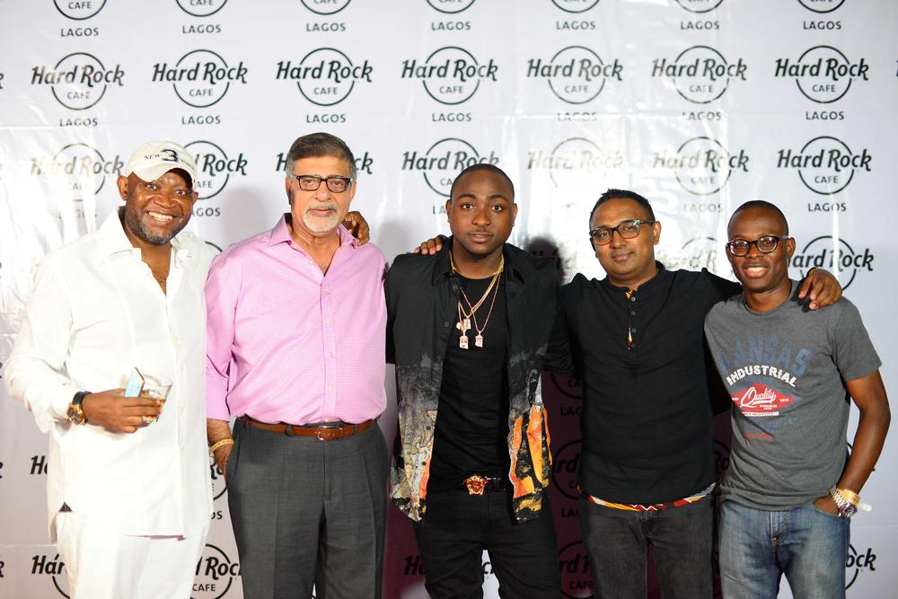 Hard Rock Cafe Lagos Launch BellaNaija Paul, Sunil Sawhney - MD 7UP Bottling Co, Davido, Norden Thurstonn - Head of Marketing, 7UP Bottling Co., Segun Ogunleye - nBrand Manager, 7UP