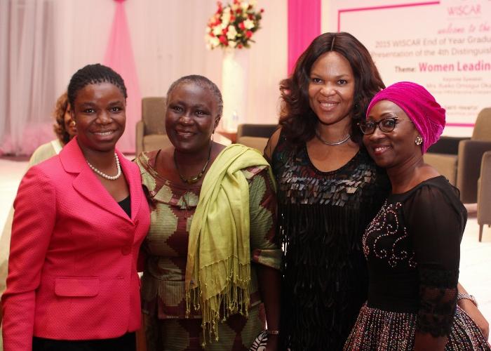 L-R Yewande Sadiku_ ED, Stanbic IBTC Bank , Prof. Remi Sonaiya_ first female presidential candidate, Lynda Saint-Nwafor_ Chief Technical Officer, MTN Nigeria and Mrs. Amina Oyagbola_ founder WISCAR