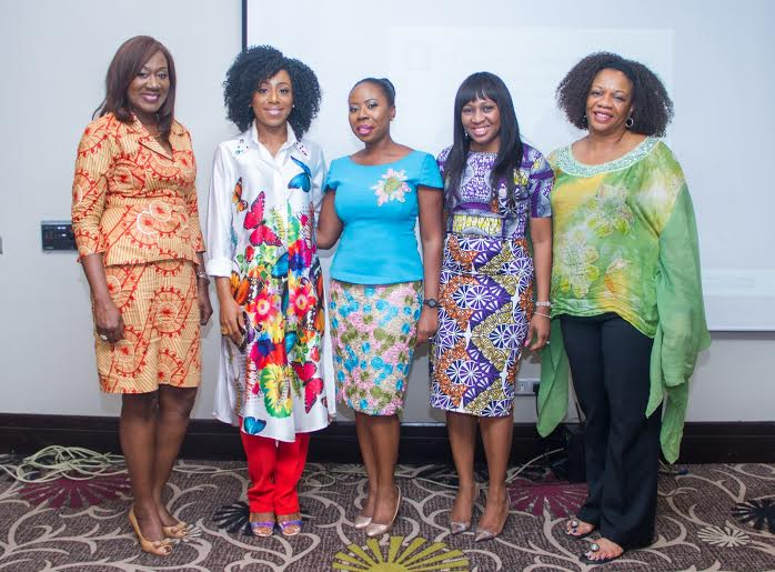L to R Speakers at LagosMums event, Nimi Akinkugbe (CEO, BestMan Games/Money Matters), Dakore Akande (Actor, MumsWorld Ambassador), Yetty Williams​, (Founder, LagosMums), Tomi Aluko (Moderator), Bolaji Osime (Founder, Global International College)