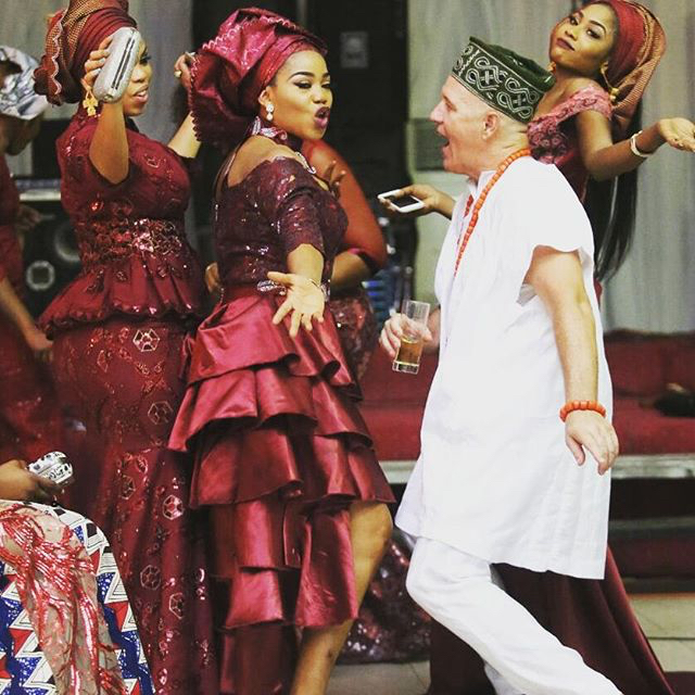 Mariam Adeyemi & John Timmer's Traditional Engagement_Lagos, Nigeria_ December 2015_Toyin Lawani dancing with John Timmer