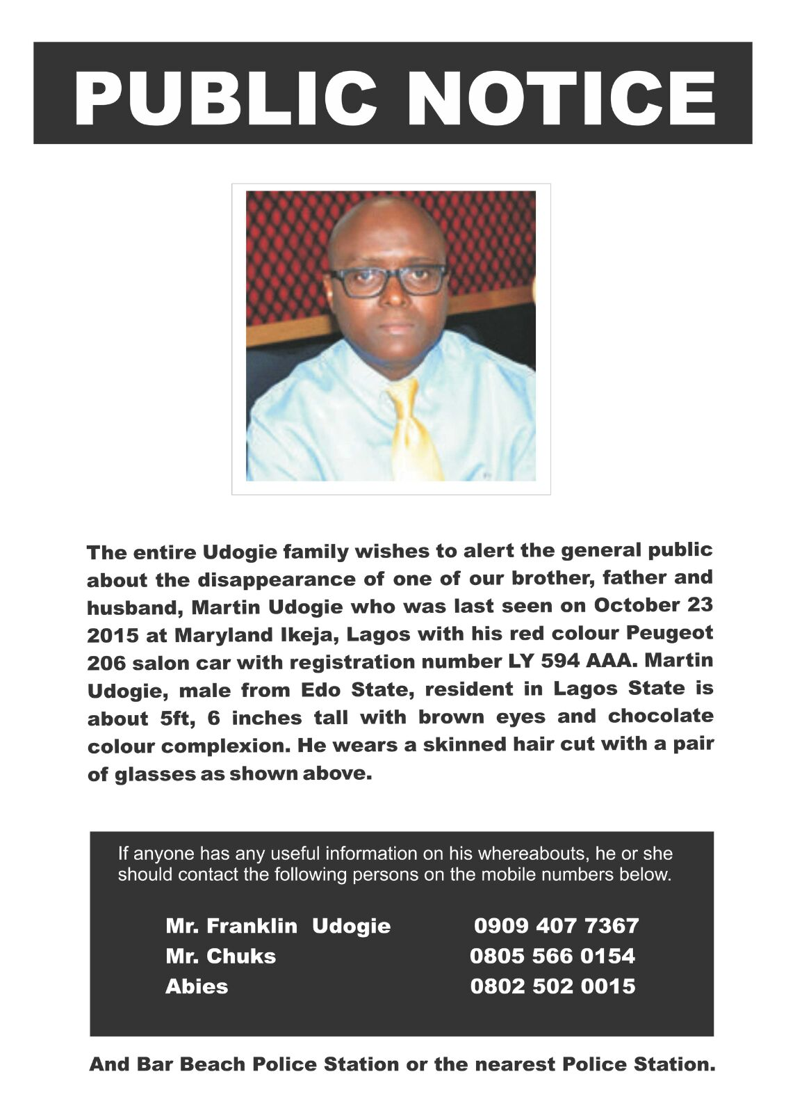 Martin Udogie Missing