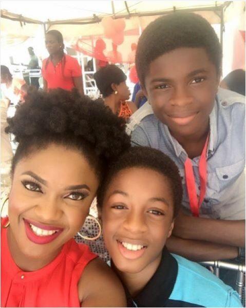 Omoni Oboli and 2 of her sons