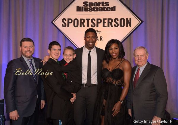 Publisher of Sports Illustrated Brendan Ripp, Award winners SI High School Athlete of the Year Hunter Gandee, with brother Braden Gandee, SI Kids 2015 SportsKid of the Year Reece Whitley, SI 2015 Sportsperson of the Year Serena Williams and SI Muhammad Ali Legacy Award Recipient Jack Nicklaus