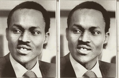 Young Buhari giving a shy side smile