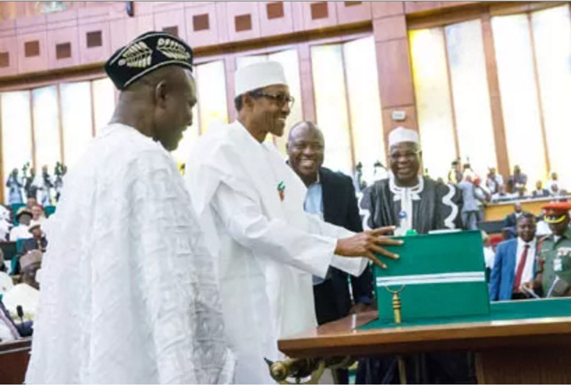 Ita Enang (left) during the presentation of the 2016 budget by President Buhari to the National Assembly. Credit: Vanguard
