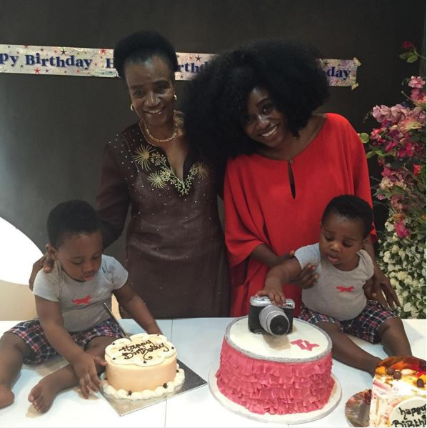 TY Bello with her mum and twin boys - Chris & Chris