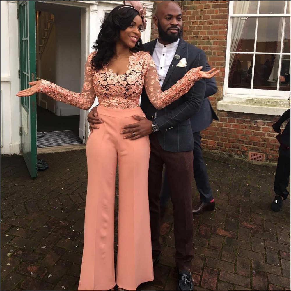 Bride Bami in a Nouva Couture Jumpsuit at her London Court Wedding in January 2016