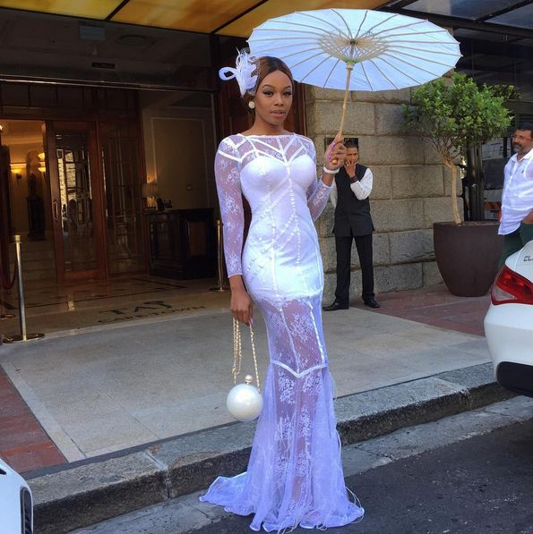 Bonang Matheba in an all white Gert-Johan Coetzee dress
